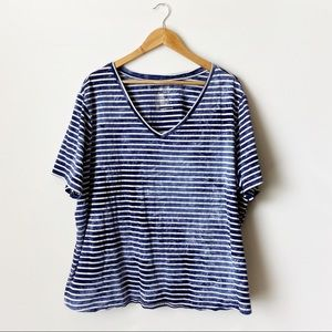 Terra & Sky Blue White Striped Short Sleeve Top 3X